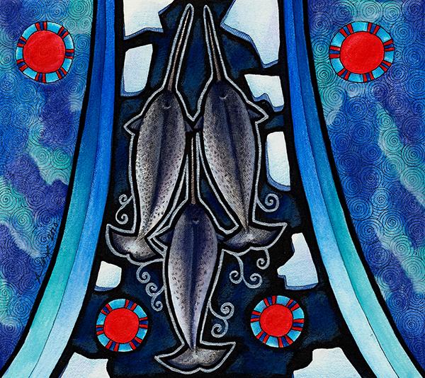 Illustration of three Narwhals by Ravenari