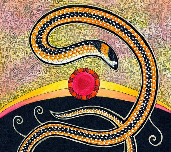 Black Striped Burrowing Snake illustrated by Ravenari