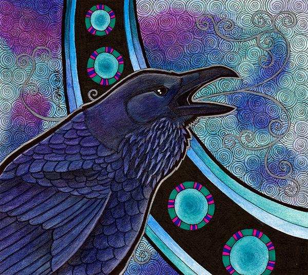Common Raven illustrated by Ravenari