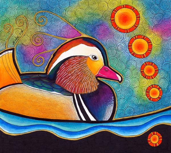 Mandarin Duck illustrated by Ravenari