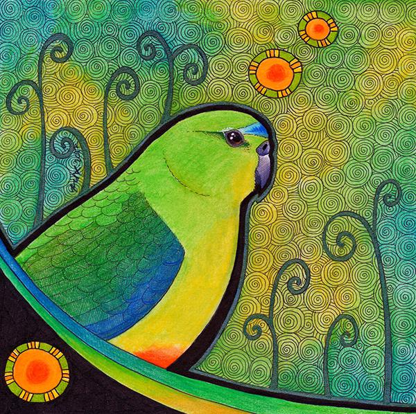 Orange Bellied Parrot illustrated by Ravenari