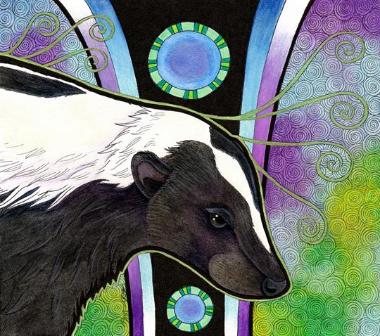 illustration of striped skunk by Ravenari