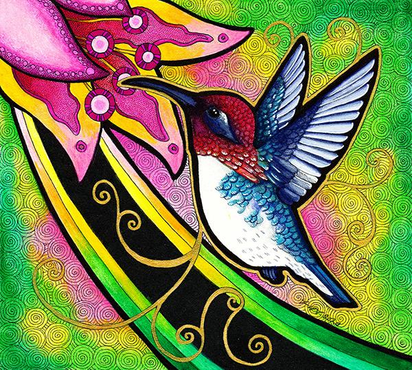 Bee Hummingbird illustrated by Ravenari