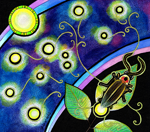 illustration of common eastern firefly and other glowing lights by Ravenari