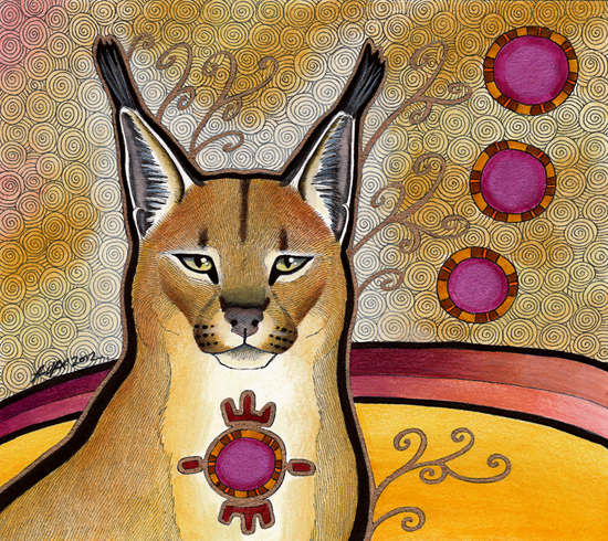 Caracal - a front facing tan coloured cat - illustrated by Ravenari